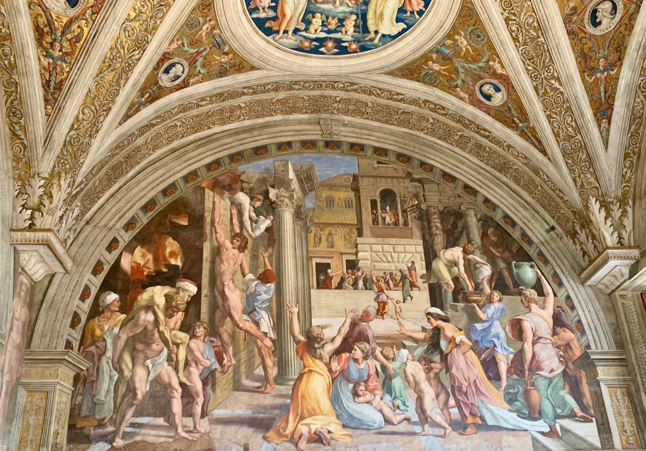 Raffaello, Incendio di Borgo, 1514, Stanze Vaticane, Citta del Vaticano